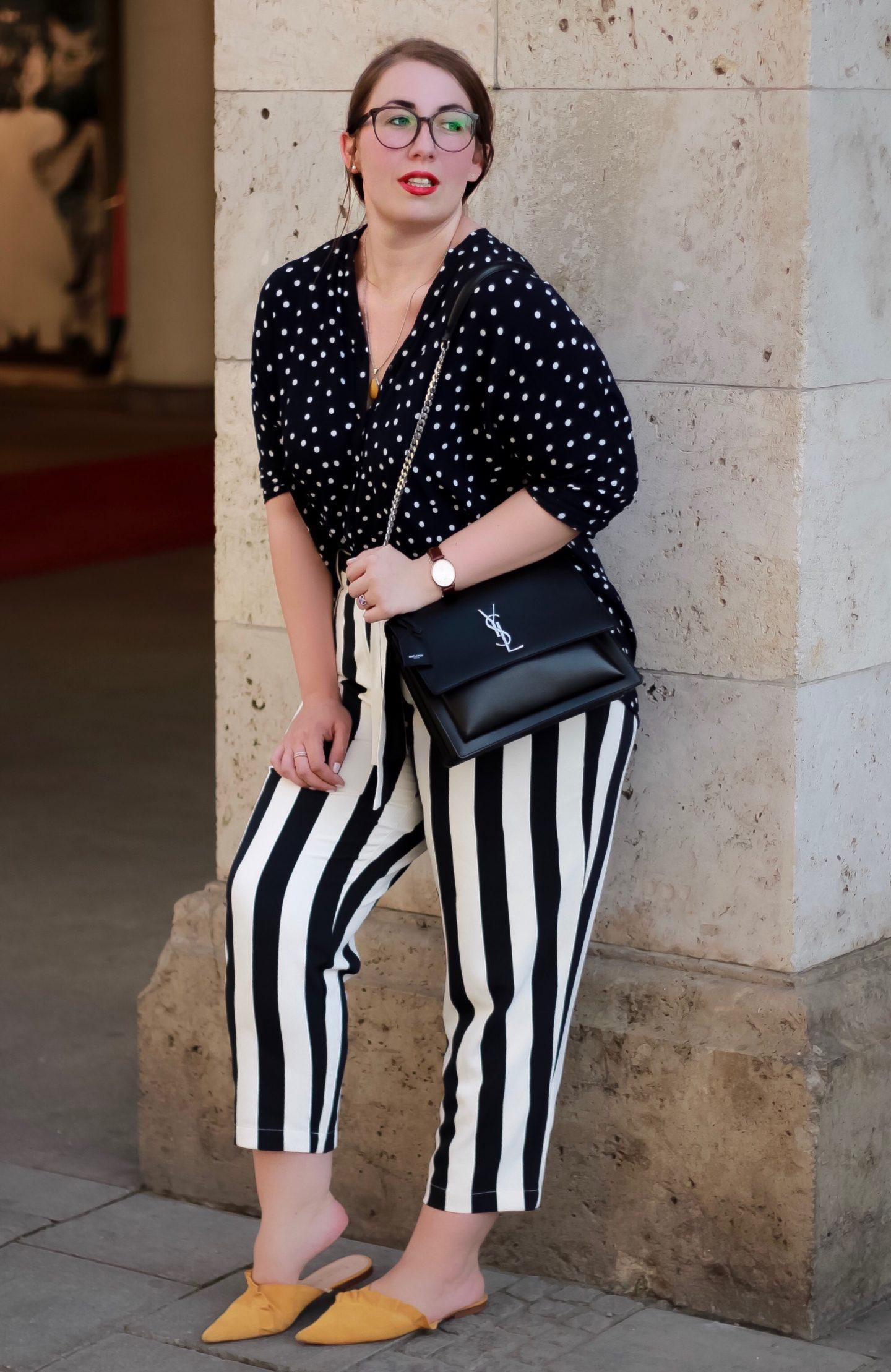 Outfit-Mustermix-Polka-Dots-Streifen-YSL-Saint-Laurent-Sunset-Miss-Suzie-Loves-Susanne-Heidebach-München-Lodenfrey-Fashionblogger
